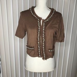BEADED CARDIGAN BY DARLING SIZE L